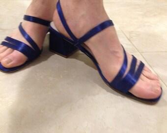 "Classy Size 10 W Royal Navy Blue Satin Strappy Elegant Sandal 2.75"" Thick Heel"
