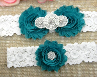 Teal Wedding Garter Set, Wedding Garter, Lace Bridal Garter Set, Keepsake Garter, Toss Garter, Pearl and Crystal Rhinestone Wedding Garter