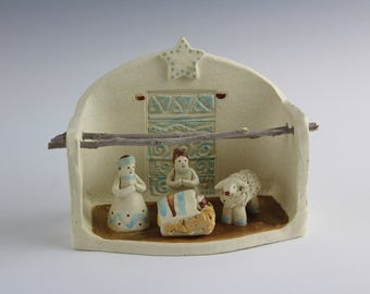 Arizona Plus Nativity, Handmade Christmas Creche, Southwest Art by Karlene Voepel