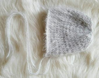 Newborn Fluffy Bonnet Photo Prop/foux angora/Girl/Boy/Fuzzy/Furry/Organic/Neutral/Soft- MADE TO ORDER