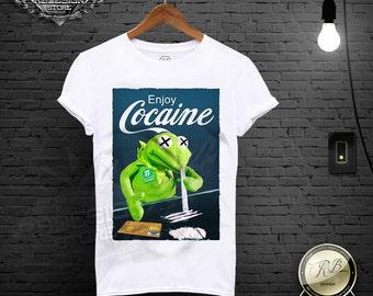 Men's White T-shirt Enjoy Cocaine Funny Parody Drug Tank Top Tee Shirt MD358