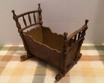 Vintage Doll Crib Vintage Doll Rocker Vintage Doll cradle Plastic Resin Doll Baby Crib Made in France
