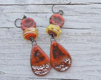 Boho flower earrings InspireGlass - DayLilyStudio