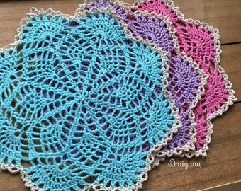 Small crochet doily, different colors to choose from, 7 1/4""