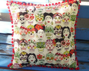 Sugar Skull Pillow Frida Kahlo Pom Fringing Rockabilly Cushion Cover Mexican Day of the Dead Kustom Muertos Pop Art Men's Unisex Gift Home