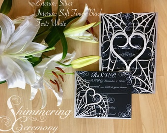 gothic spider web halloween wedding invitation laser cut gatefold with matching laser cut RSVP card