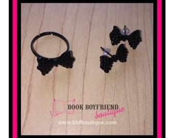Black BOW TIE Ring & Earring Set - Preppy <3
