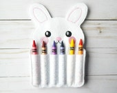 felt crayon roll up - Easter toys for kids - Easter gift - Easter bunny crayon roll - Easter basket stuffers - felt toy - Easter rabbit gift