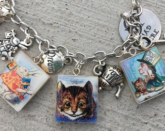 Alice in Wonderland Jewelry, Vintage Alice in Wonderland Bracelet, Alice Charm Bracelet, Red Queen Jewelry, Mad Hatter Jewelry