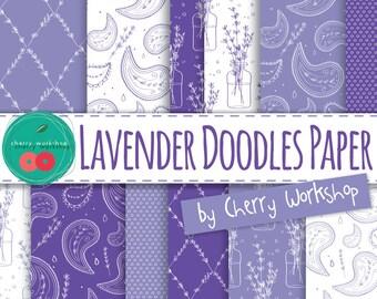 "Lavender Digital Paper ""Lavender Doodle Paper"" Floral Digital Paper Pack, COMMERCIAL and PERSONAL USE - printable paper with lavender art"
