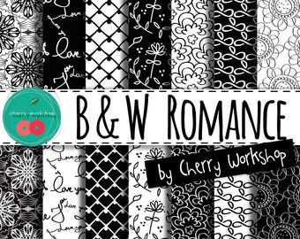 "Black and White Digital Paper ""Black and White Romance"" wedding digital paper, scrapbook paper, printable paper, pattern paper"