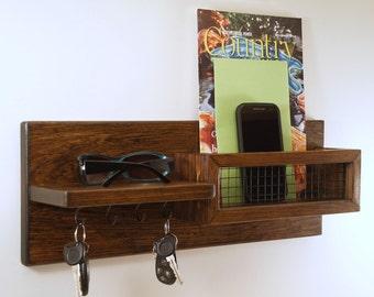 Rustic Entryway Mail Organizer/Key Rack with Shelf/Espresso Finish