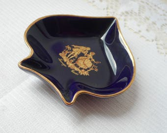 stunning vintage Limoges Castel porcelain shaped trinket dish / trinket tray