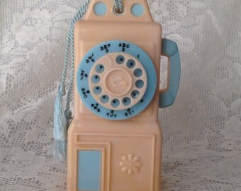 Vintage plastic pay phone music box | Rock-a -Bye-Baby | pink and blue telephone | vintage baby music box