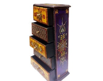 Wooden Embosed Five Drawer Box