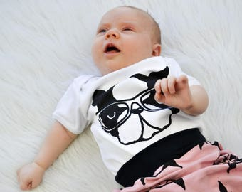 terrance the dog baby one piece, boston terrier, unisex kids clothing, trendy infant clothes, trendy girls clothes, hipster kids clothing