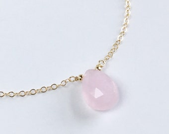 Dainty Rose Quartz Choker Necklace, Dainty Gold Gemstone Choker Necklace,  Bridesmaid Gift, Sterling Silver or Rose Gold