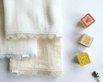 NomiLu Heirloom Lace Swaddle Blanket -- Muslin Cotton Gauze and Lace