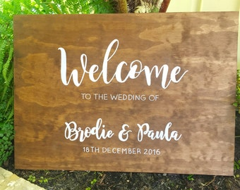 Wedding Welcome Walnut Stain Wooden Sign