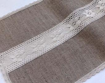 Linen, Jute  Burlap Table Runner With Lace Cotton, Wedding Bar