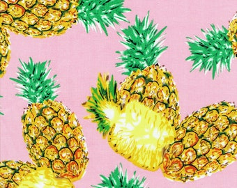 """Fabric """"Tropic Like it's Hot"""" Pineapple Fruit Print on Pastel Pink - By the Yard"""