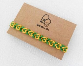 Green & yellow heart wrap friendship bracelet boho love earthy hippie festival wristband cotton thread hand made Rahrah Crafts hemp style