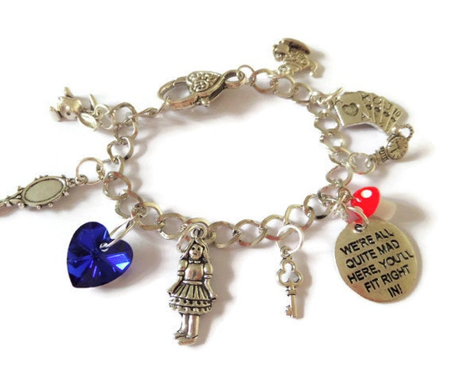 ALICE in WONDERLAND inspired charm bracelet we're all quite mad here fan gift jewellery xmas present tea party Uk