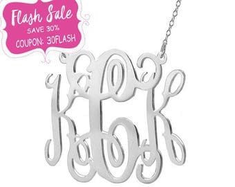 Silver monogram necklace 1.5 inch pendant select any initial made with 925 Sterling silver