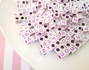6.5mm White and Purple Alphabet Square Cube Beads, Acrylic Letter Mix, #1007