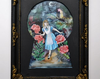 View through a lock; Alice in Wonderland original illustration