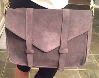 Gray Suede Cross Body Bag by Violetta
