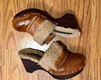 Platform clogs carmel brown / siZe women's US 7 / free shipping
