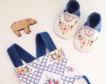 Vintage Embroided Baby Shoes