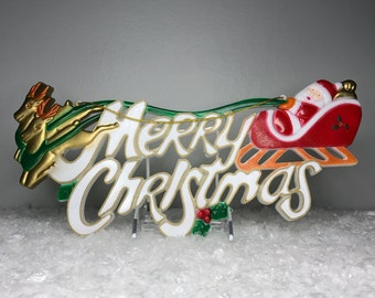 vintage plastic Merry Christmas sign