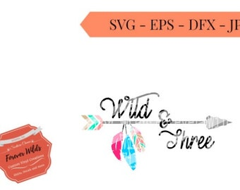 Wild and three svg - arrow svg - colorful feather svg - birthday svg- floral svg - svg files - cricut files -silhouette files - cutting file