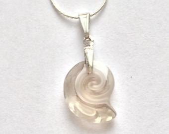 Sea Snail Swarovski Necklace, Swarovski Snail Necklace, Beach Jewelry