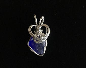 Sterling silver wrapped genuine cobalt blue sea glass pendant
