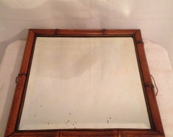 Antique French mirror wood bamboo ice glass Style beveled Vintage