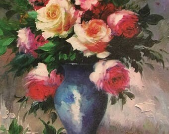 """Oil painting flowers printed on canvas 12""""*16"""" NO FRAME"""