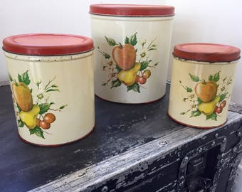 Vintage 1950s KITCHEN CANISTER SET. Decoware Set of 3 Canisters, Metal Canisters with Fruit Print, Farmhouse Retro Kitchen