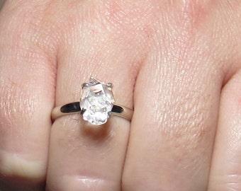 Raw Diamond Ring, Rough Diamond Ring, 1.85 Carat Uncut Diamond Ring, Anniversary Ring, Engagement Ring, Gold Diamond Ring, Herkimer Diamond