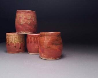 Melon tea bowls, glaze meditations, set of four tea bowls