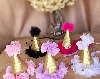 Birthday hat, girls birthday hat, baby birthday hat, flower birthday hat, babys first birthday, womans birthday hat