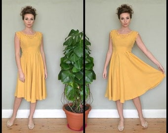 Vintage Buttercup Yellow 1940's 1950's Cut Work Embroidery Detail Full Circle Sun Dress Size Small
