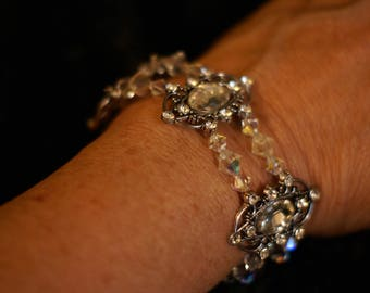 Elegant crystal and silver beaded Bracelet