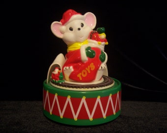 Hard Plastic Christmas Mouse with Musical Rotating Train