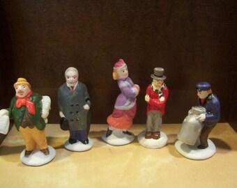 Five Christmas Village Figurines