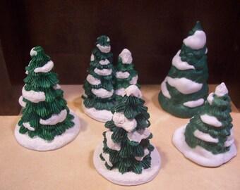 Five Christmas Village Christmas Trees