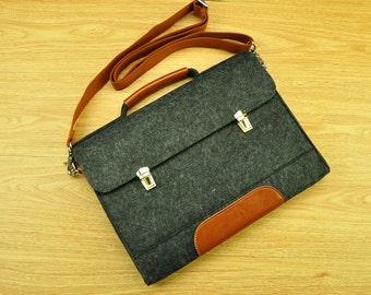 Felt laptop bag,laptop messenger,MacBook bag,laptop bag for men,new MacBook Pro,felt Briefcase Macbook Bag with Handle for 15 Macbook-TFL151