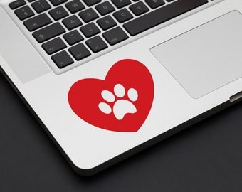 Heart Pawprint Decal - Vinyl Decal, Laptop Decal, Car Sticker